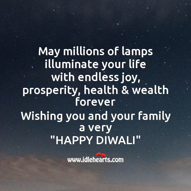 May millions of lamps illuminate your life Diwali Messages Image