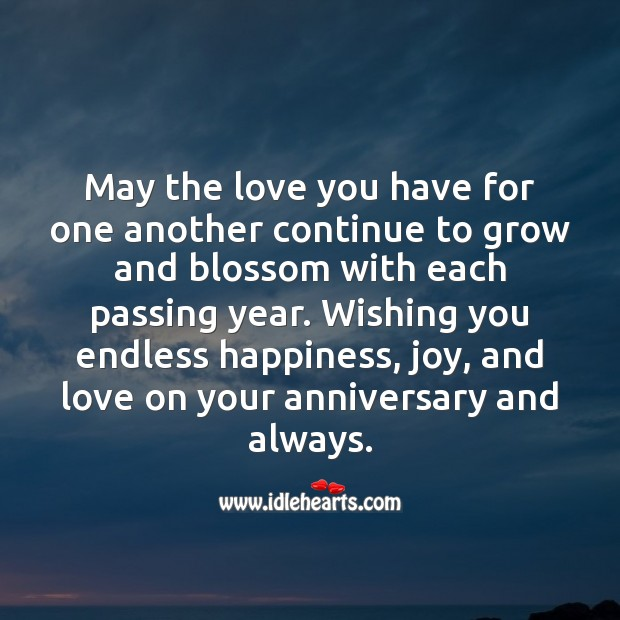 May the love you have for one another continue to grow. Wishing You Messages Image