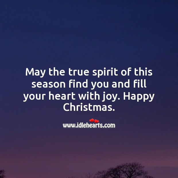 May the true spirit of this season find you and fill your heart with joy. Christmas Messages Image