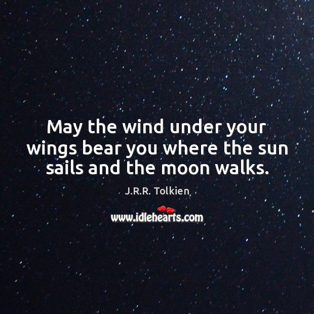 May the wind under your wings bear you where the sun sails and the moon walks. Image