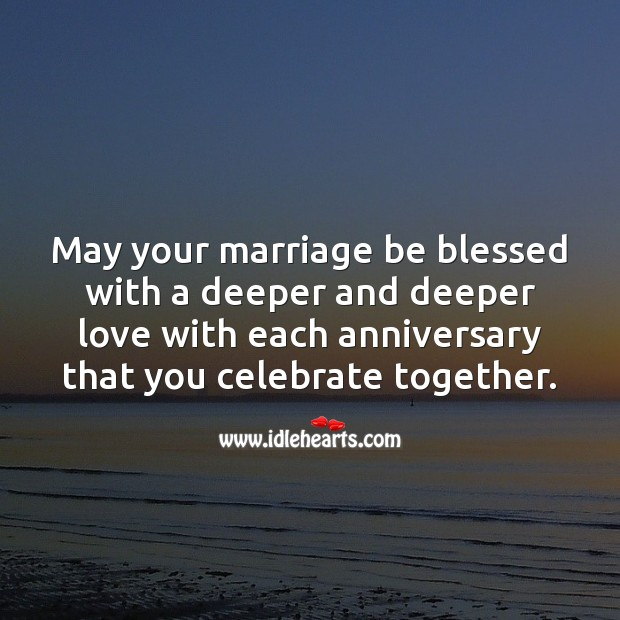 May your marriage be blessed with a deeper and deeper love with each anniversary. Celebrate Quotes Image