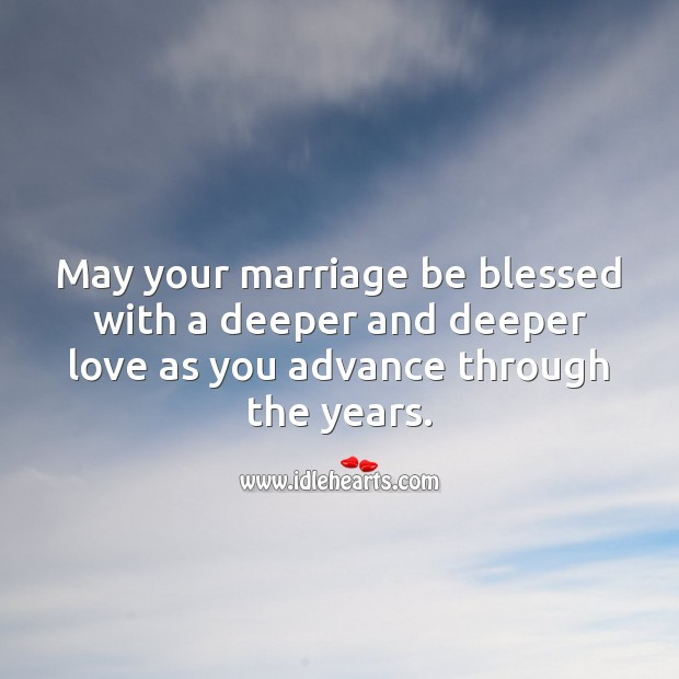 May your marriage be blessed with a deeper and deeper love. Wedding Anniversary Messages Image