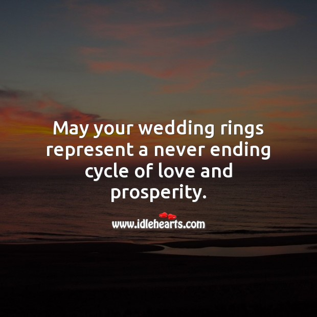 May your wedding rings represent a never ending cycle of love and prosperity. Wedding Messages Image