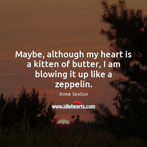 Maybe, although my heart is a kitten of butter, I am blowing it up like a zeppelin. Image