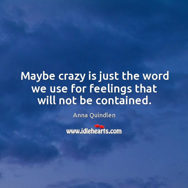 Image, Maybe crazy is just the word we use for feelings that will not be contained.