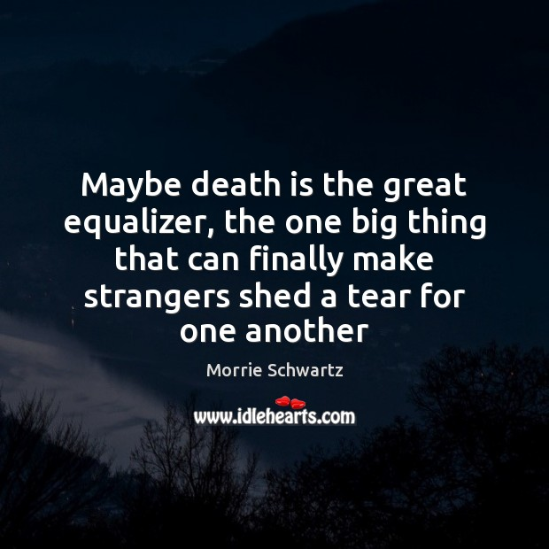 Maybe death is the great equalizer, the one big thing that can Morrie Schwartz Picture Quote