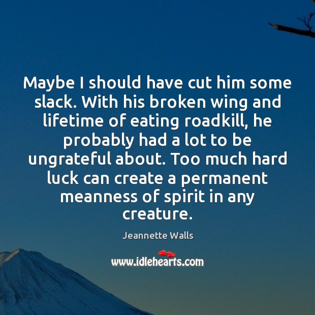 Maybe I should have cut him some slack. With his broken wing Jeannette Walls Picture Quote
