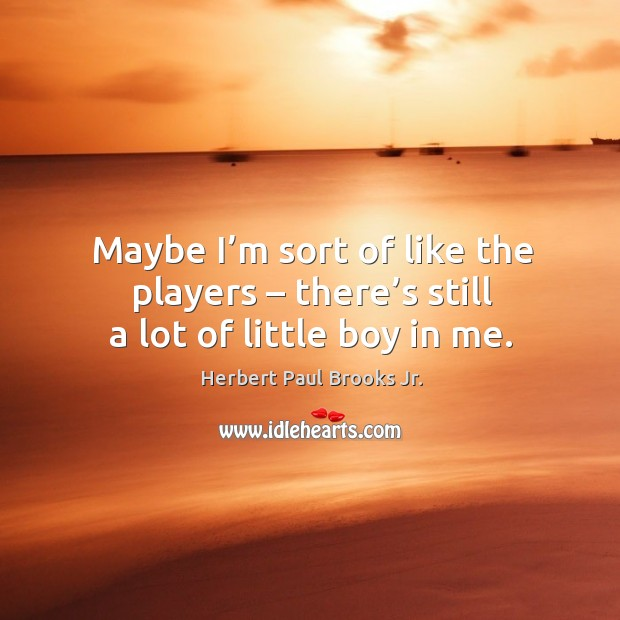 Maybe I'm sort of like the players – there's still a lot of little boy in me. Image