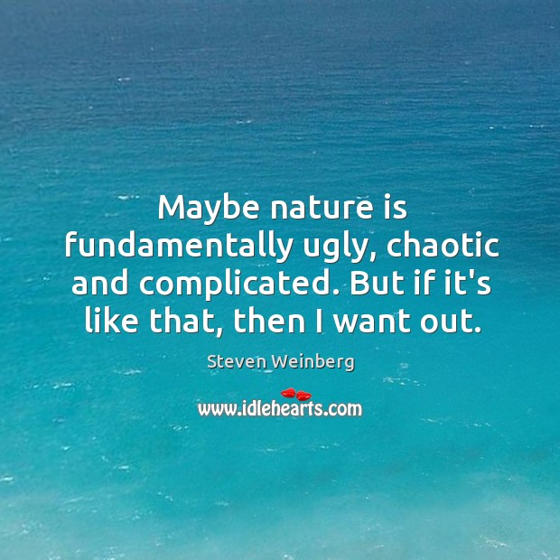 Maybe nature is fundamentally ugly, chaotic and complicated. But if it's like Steven Weinberg Picture Quote