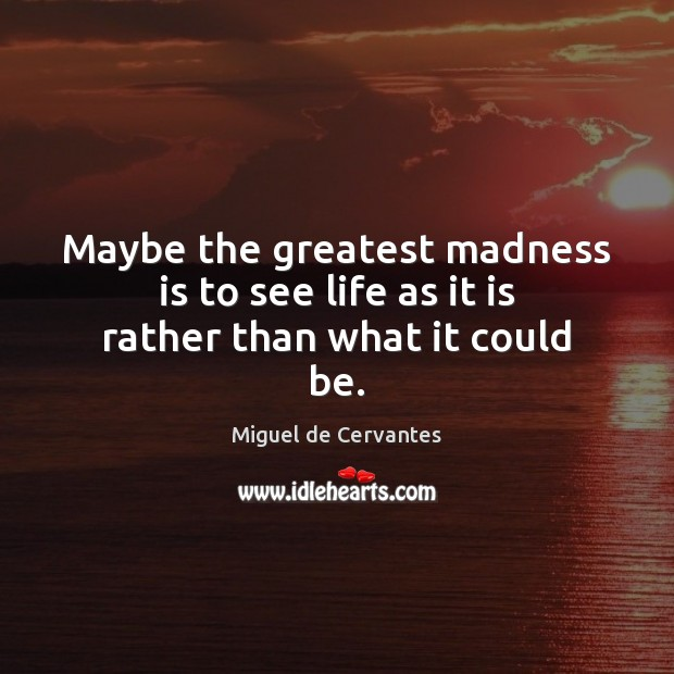 Maybe the greatest madness is to see life as it is rather than what it could be. Image