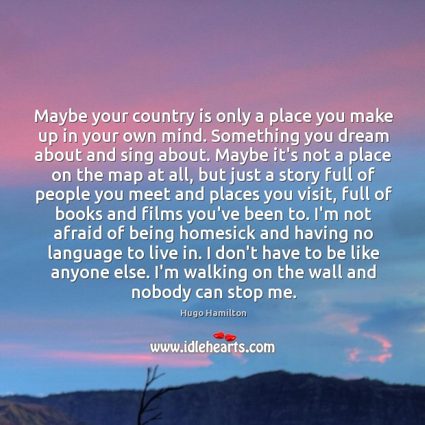 Maybe your country is only a place you make up in your Image