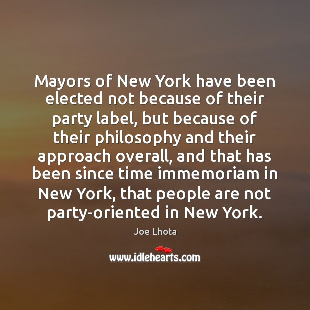 Mayors of New York have been elected not because of their party Image