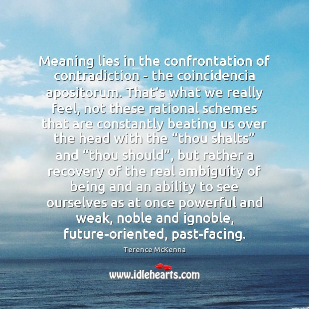 Meaning lies in the confrontation of contradiction - the