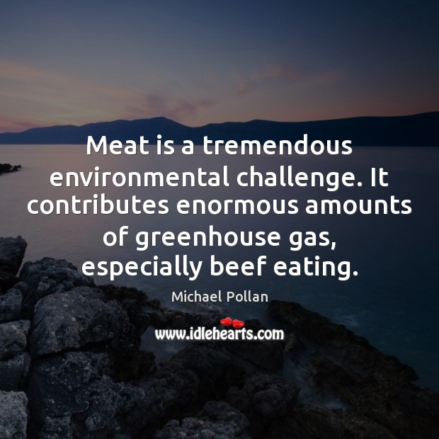 Meat is a tremendous environmental challenge. It contributes enormous amounts of greenhouse Image