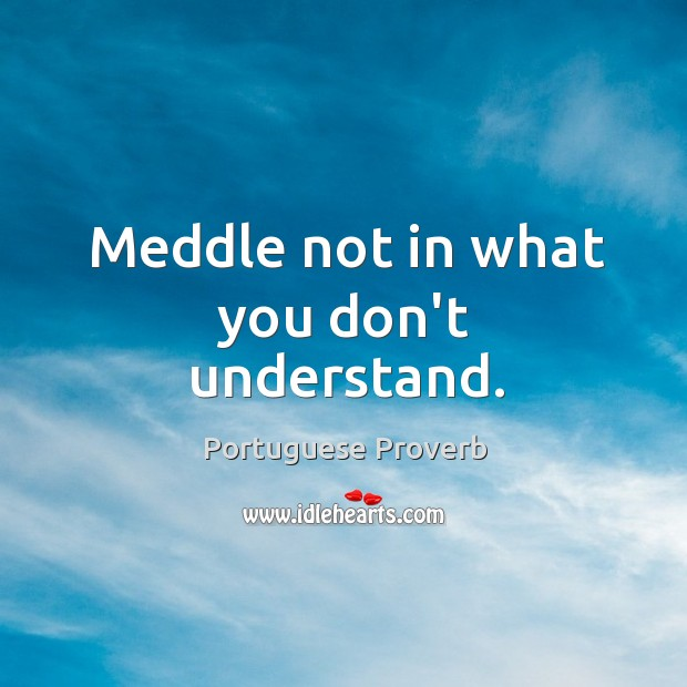 Meddle not in what you don't understand. Image