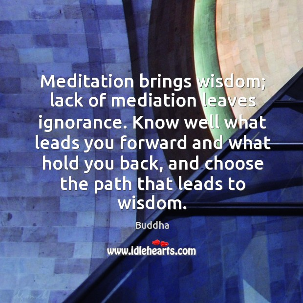 Meditation brings wisdom; lack of mediation leaves ignorance. Know well what leads you. Buddha Picture Quote