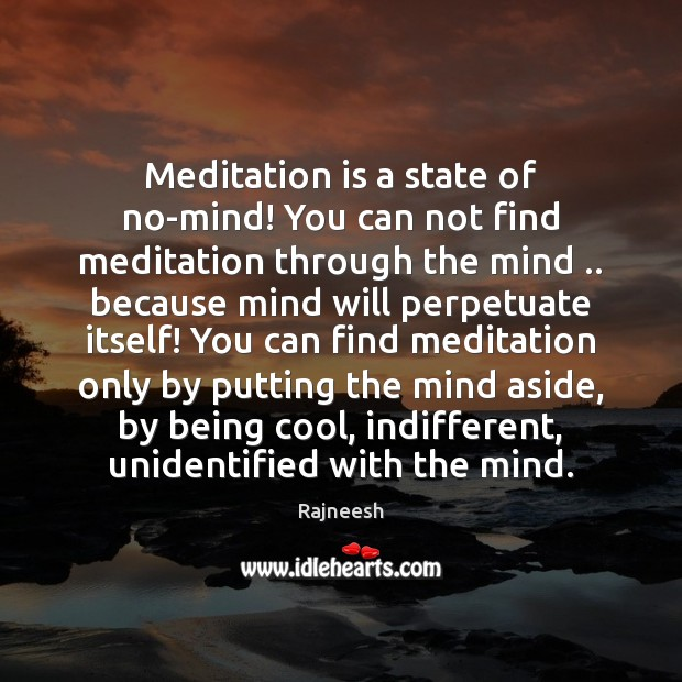 Image, Meditation is a state of no-mind! You can not find meditation through