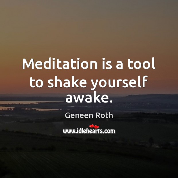 Meditation is a tool to shake yourself awake. Geneen Roth Picture Quote
