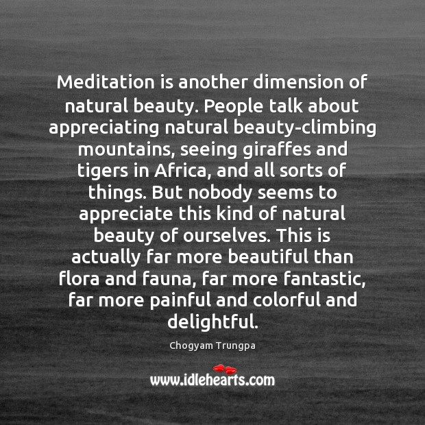 Meditation is another dimension of natural beauty. People talk about appreciating natural Image