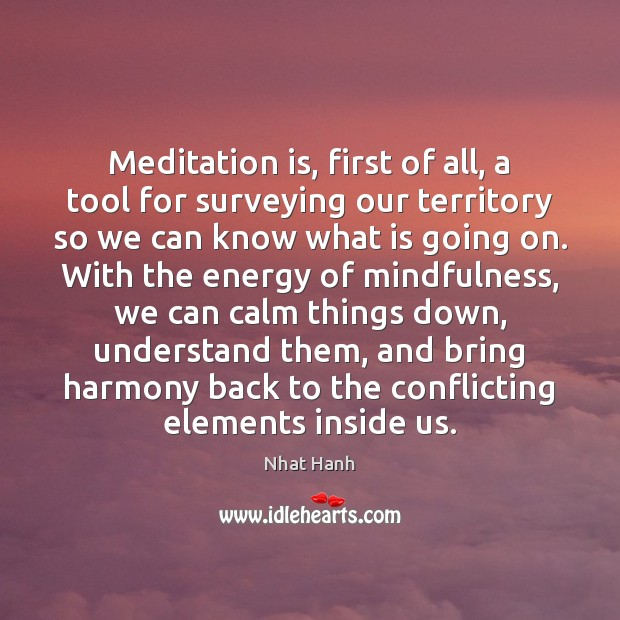 Image, Meditation is, first of all, a tool for surveying our territory so