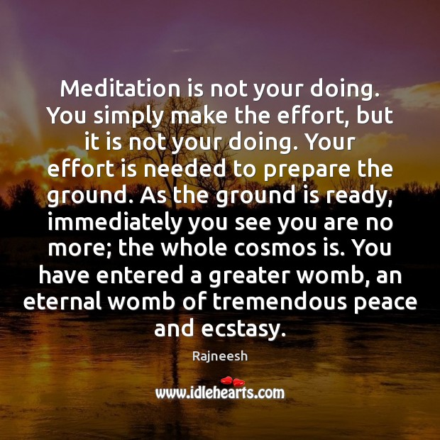 Meditation is not your doing. You simply make the effort, but it Rajneesh Picture Quote
