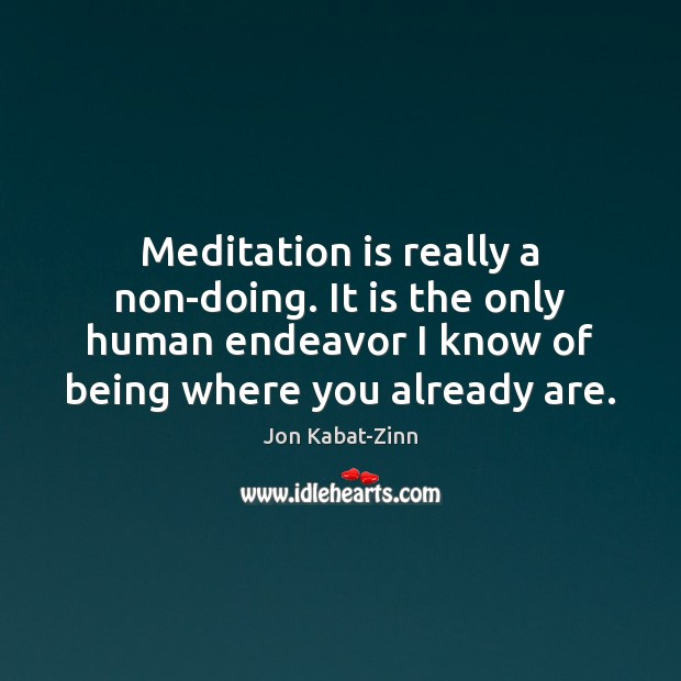 Meditation is really a non-doing. It is the only human endeavor I Jon Kabat-Zinn Picture Quote