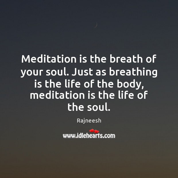 Meditation is the breath of your soul. Just as breathing is the Image