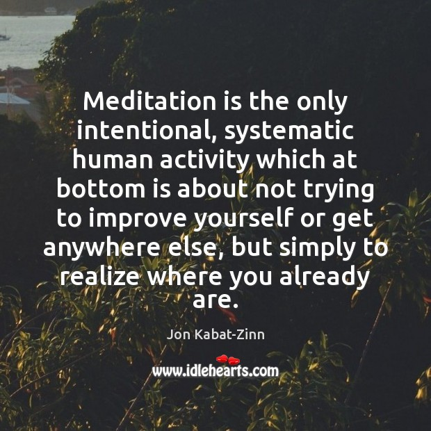 Meditation is the only intentional, systematic human activity which at bottom is Jon Kabat-Zinn Picture Quote