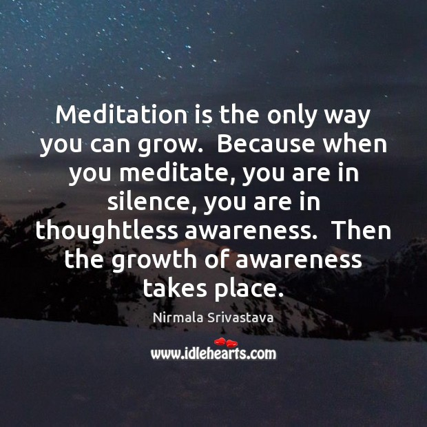 Meditation is the only way you can grow.  Because when you meditate, Nirmala Srivastava Picture Quote