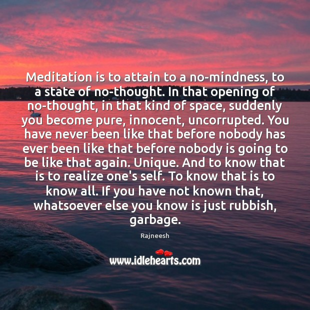 Image, Meditation is to attain to a no-mindness, to a state of no-thought.