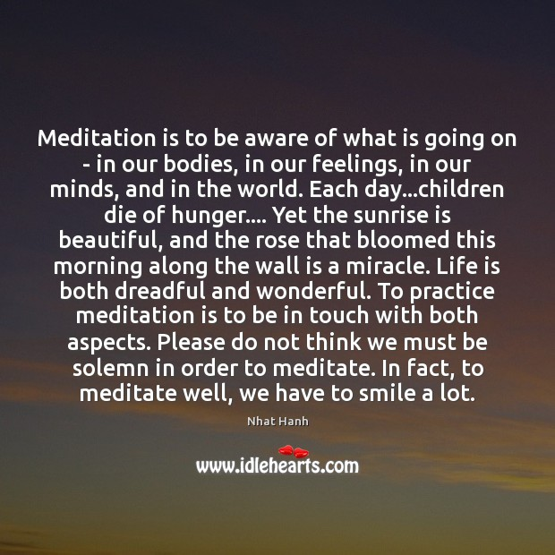 Image, Meditation is to be aware of what is going on – in