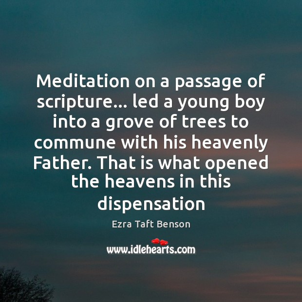 Image, Meditation on a passage of scripture… led a young boy into a