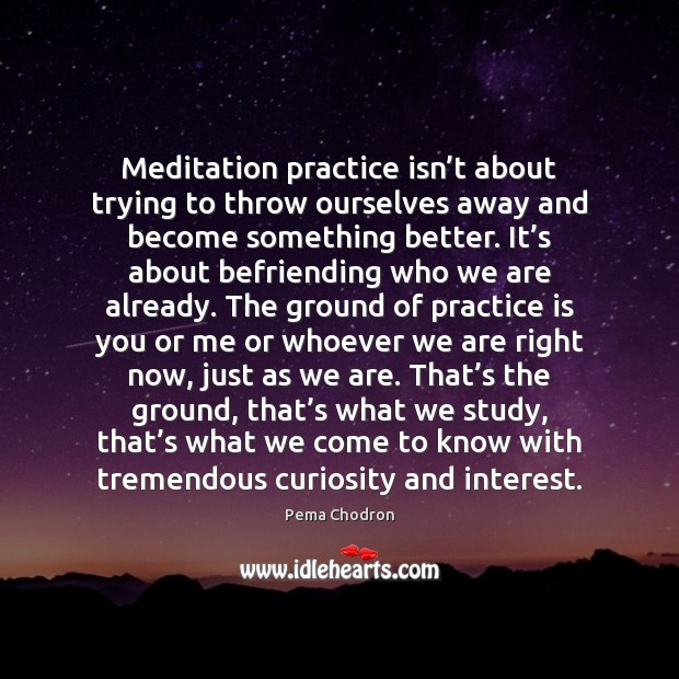 Image, Meditation practice isn't about trying to throw ourselves away and become