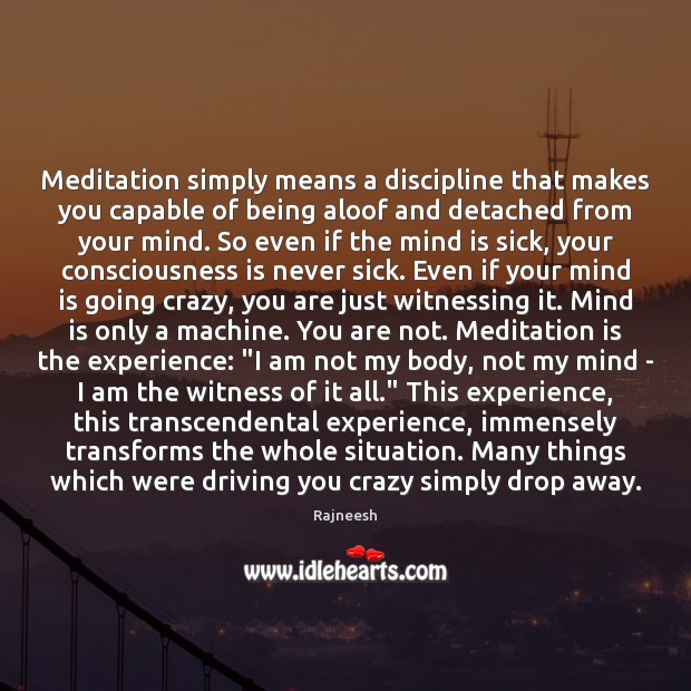Meditation simply means a discipline that makes you capable of being aloof Image