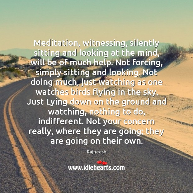 Image, Meditation, witnessing, silently sitting and looking at the mind, will be of