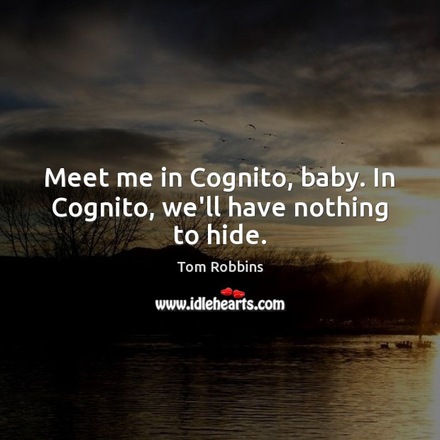 Image, Meet me in Cognito, baby. In Cognito, we'll have nothing to hide.