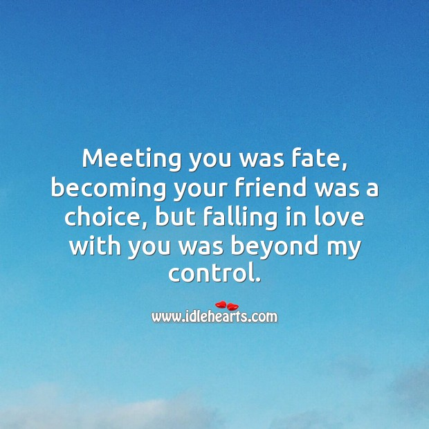 Meeting you was fate, but falling in love with you was beyond my control. Romantic Messages Image