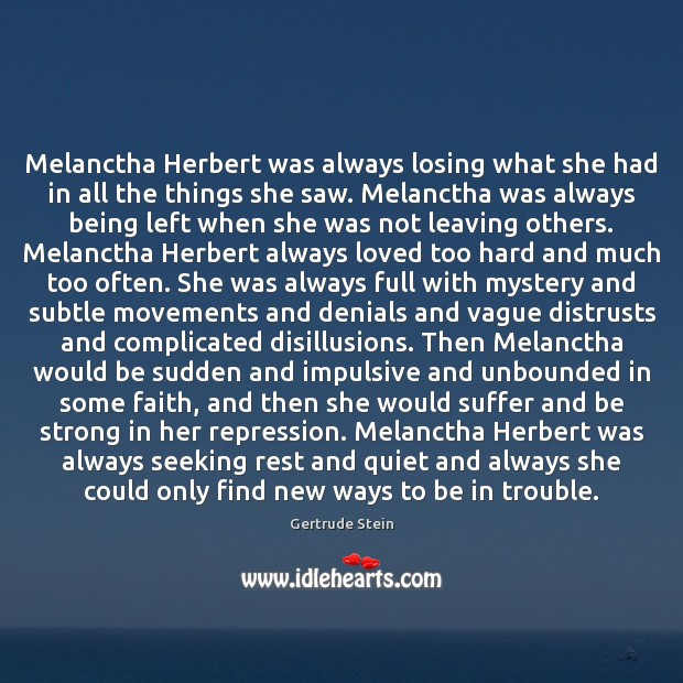Image, Melanctha Herbert was always losing what she had in all the things