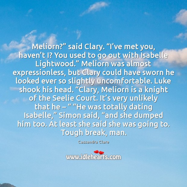 "Image, Meliorn?"" said Clary. ""I've met you, haven't I? You used"