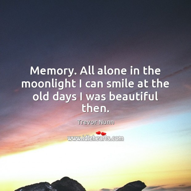 Memory. All alone in the moonlight I can smile at the old days I was beautiful then. Image
