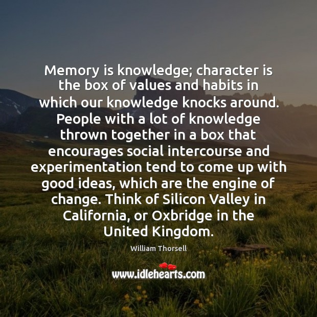 Memory is knowledge; character is the box of values and habits in Image