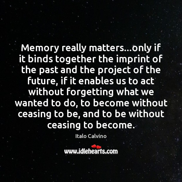 Memory really matters…only if it binds together the imprint of the Image