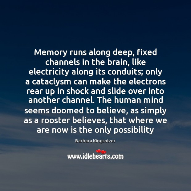 Memory runs along deep, fixed channels in the brain, like electricity along Barbara Kingsolver Picture Quote