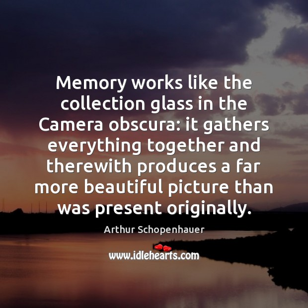 Memory works like the collection glass in the Camera obscura: it gathers Image