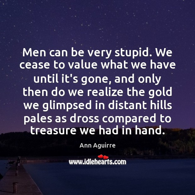 Men can be very stupid. We cease to value what we have Ann Aguirre Picture Quote