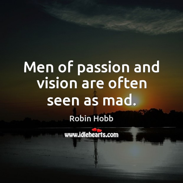 Men of passion and vision are often seen as mad. Robin Hobb Picture Quote