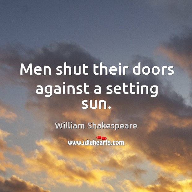 Men shut their doors against a setting sun. Image