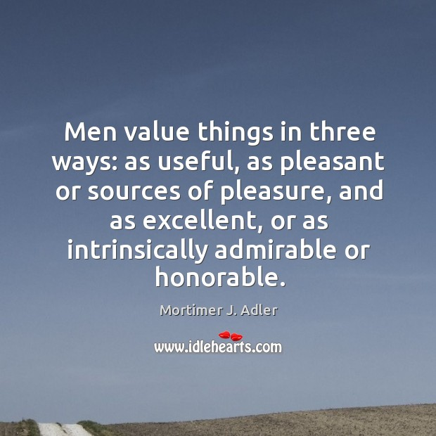 Image, Men value things in three ways: as useful, as pleasant or sources of pleasure