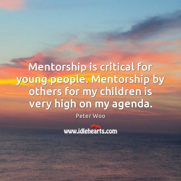 Mentorship is critical for young people. Mentorship by others for my children Image