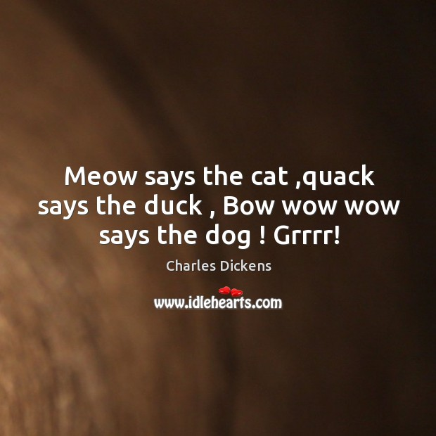 Image, Meow says the cat ,quack says the duck , Bow wow wow says the dog ! Grrrr!
